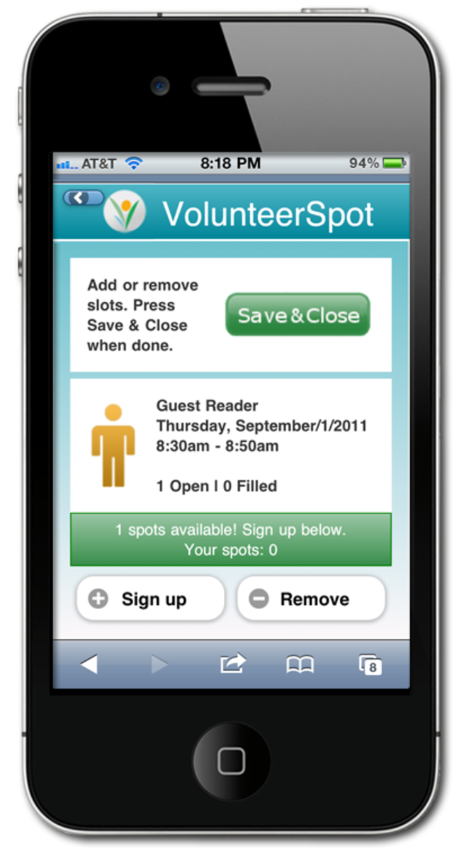 VolunteerSpot on Cell phone