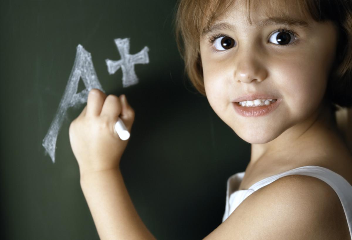 girl on chalk board