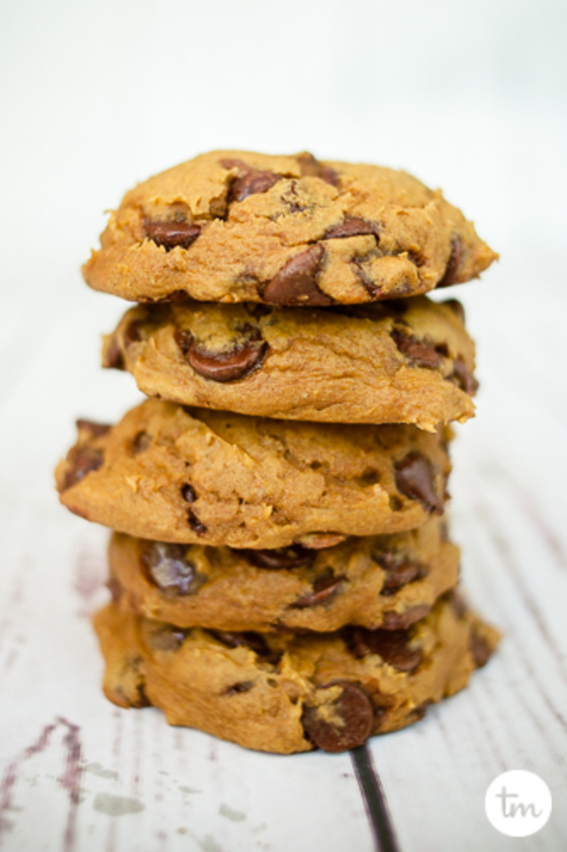 A stack of pumpkin chocolate chip cookies from cake mix.