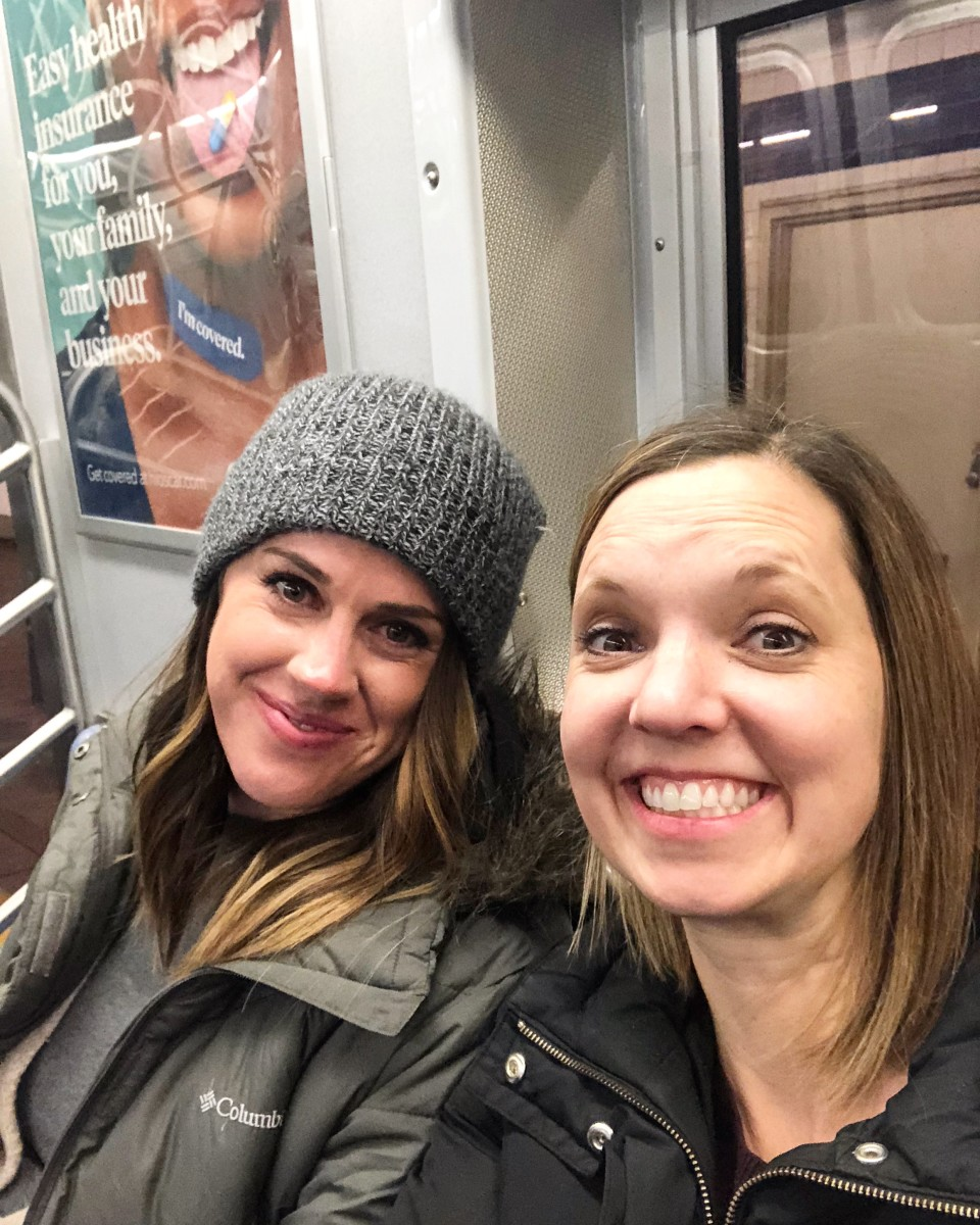 Mel and me and some guy's mouth on the subway.