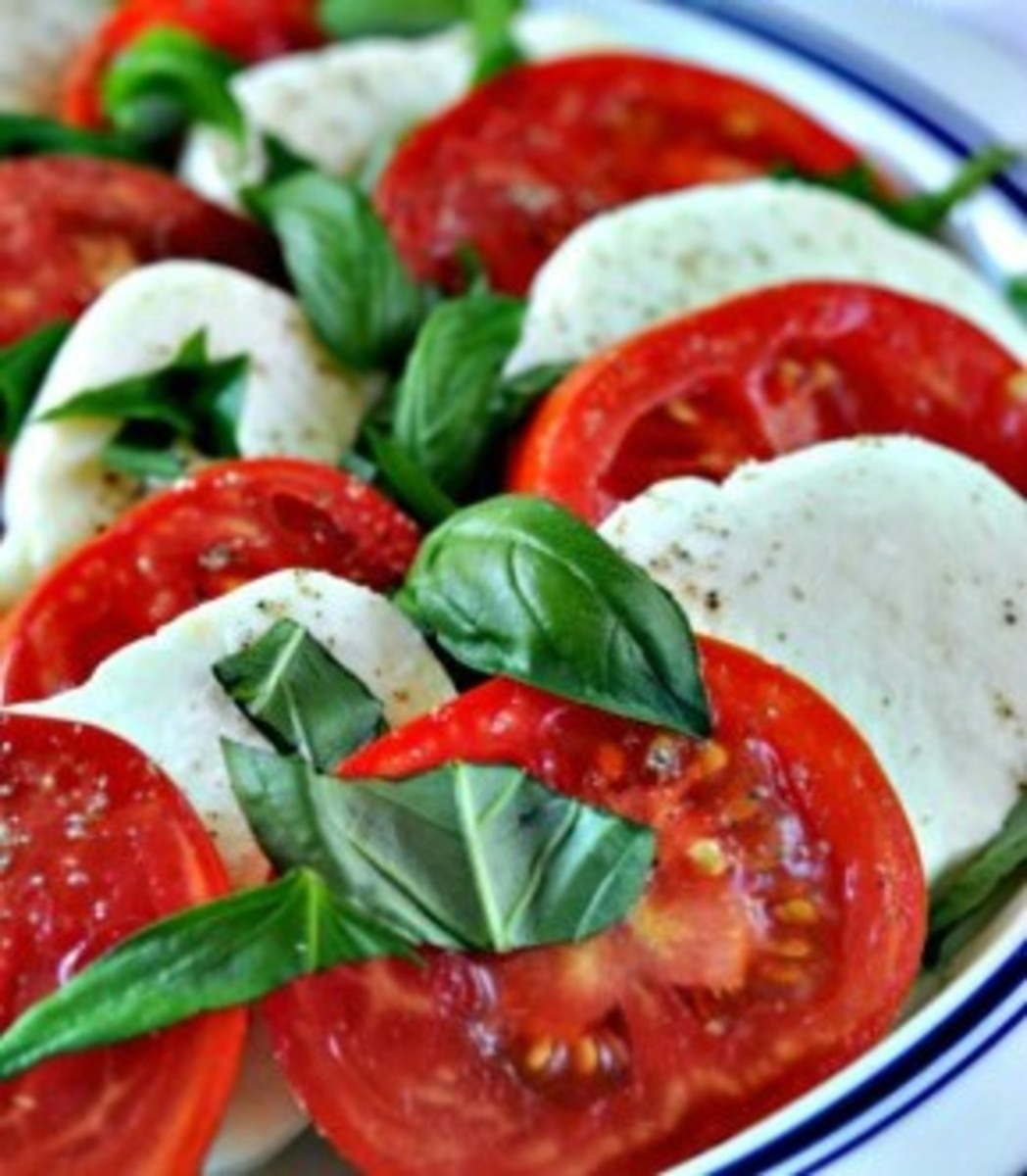Basil in Caprese Salad
