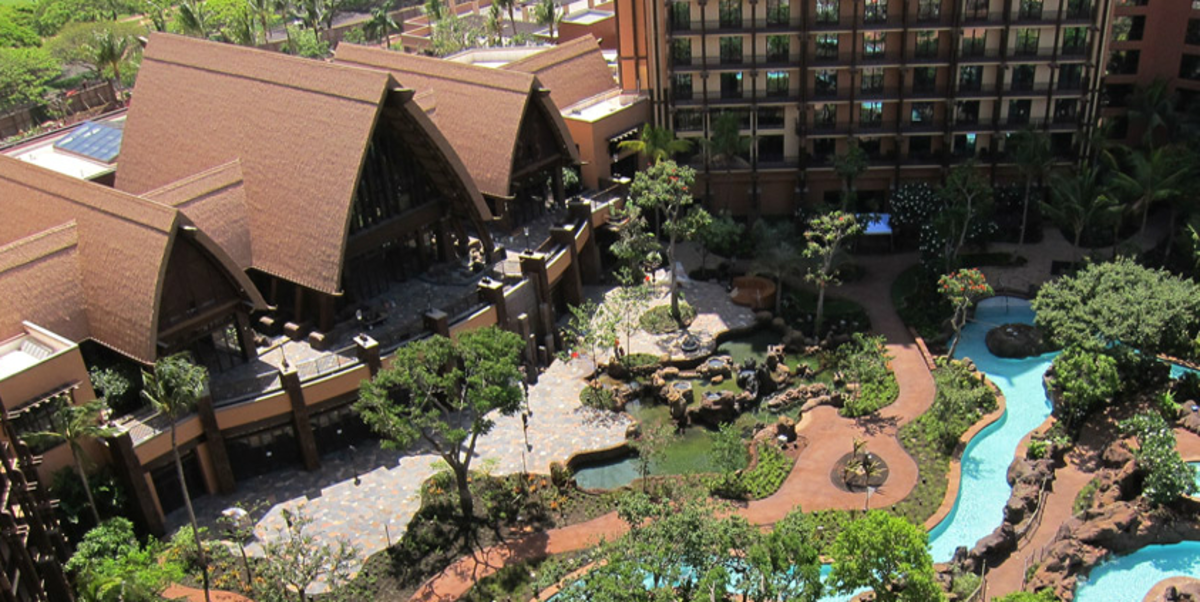 The main lobby on the left and part of the Waikolohe Valley in the center