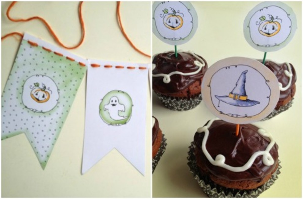 Printable Halloween Party Banner and Cupcakes