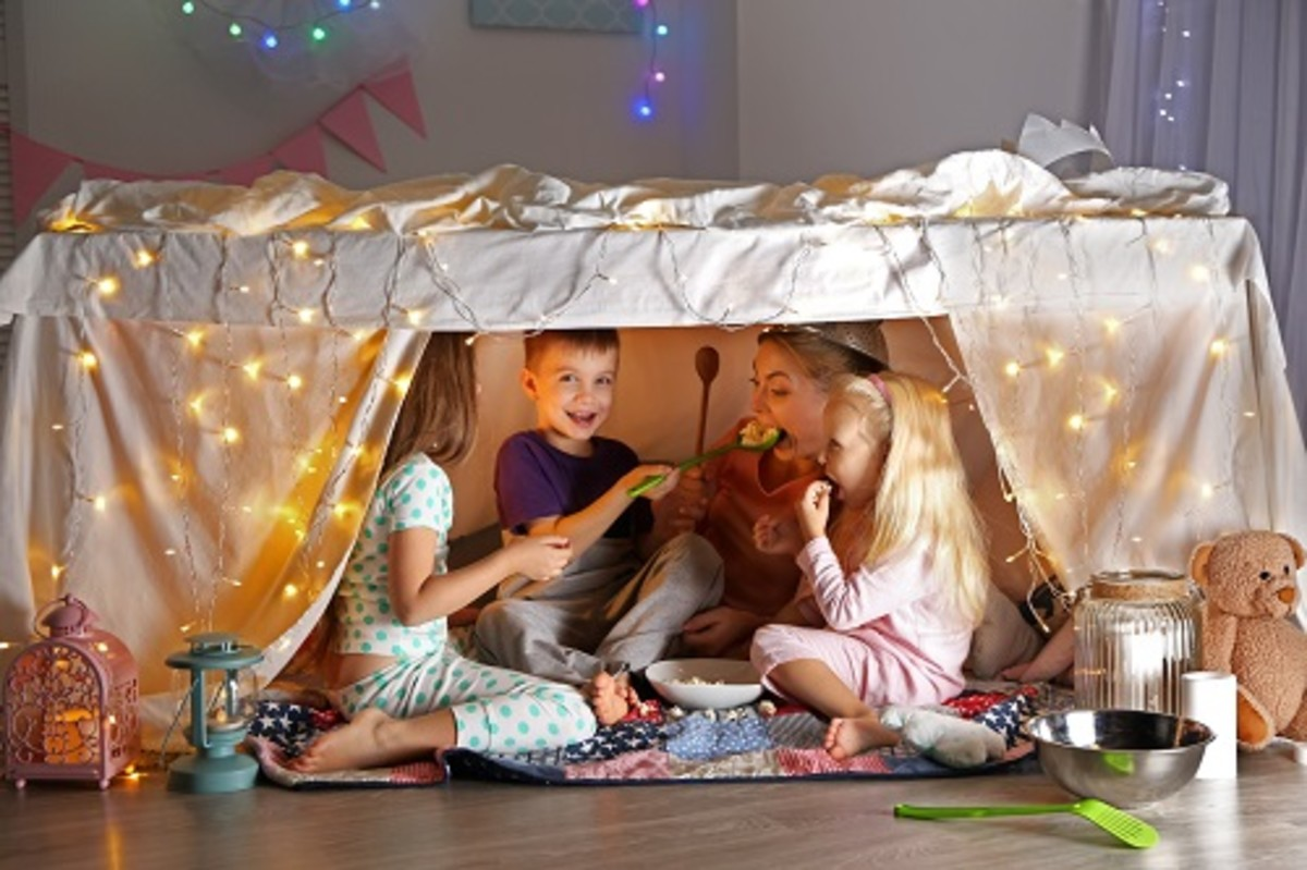 family vacation envy blanket fort