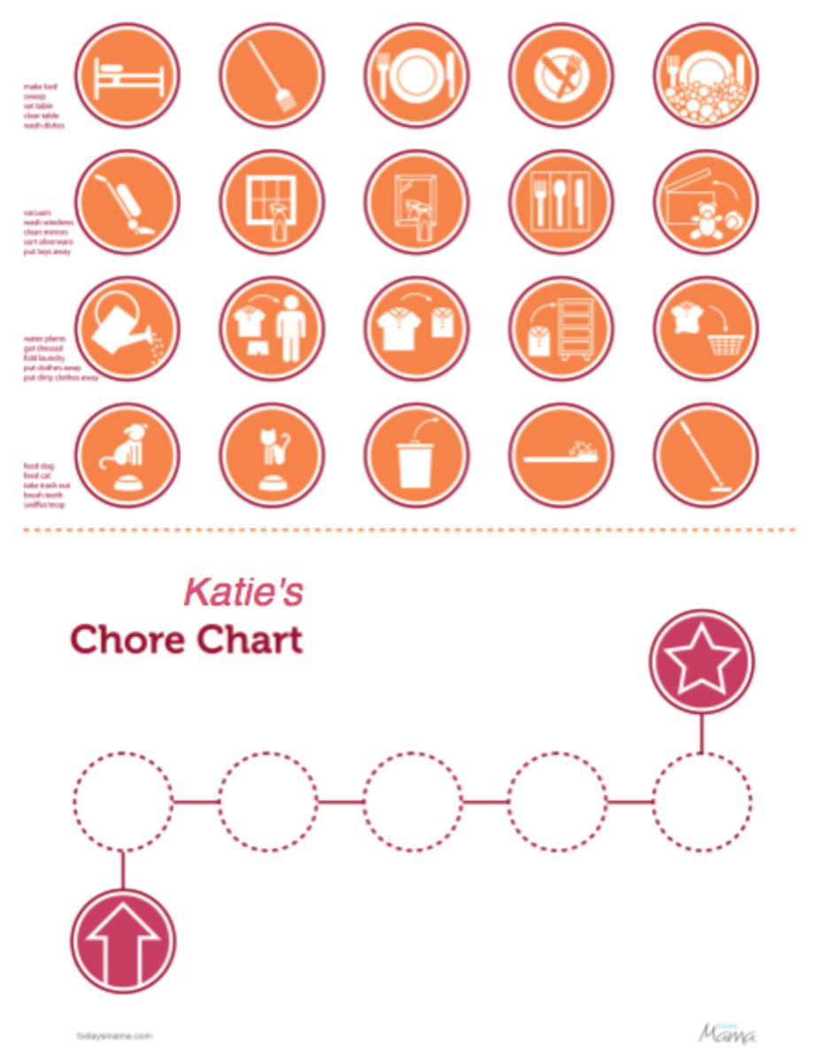 picture chore chart nonreader orange thumb