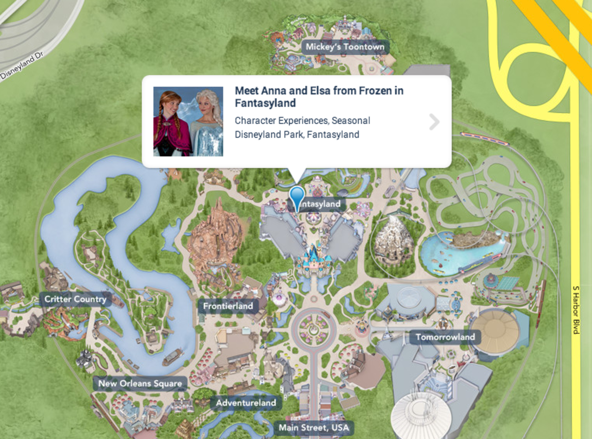 Map to Fantasyland to meet Elsa and Anna