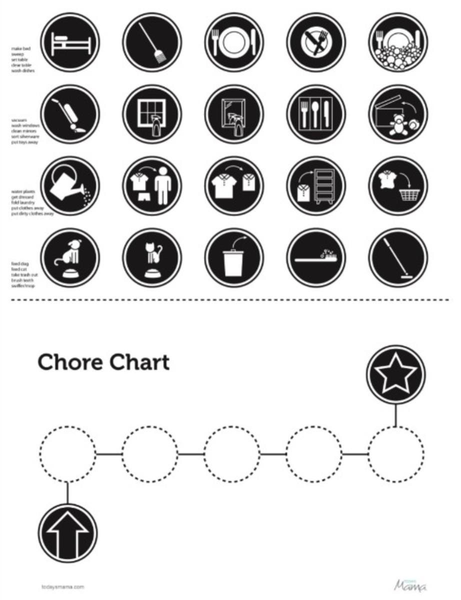 non reader chore chart bw