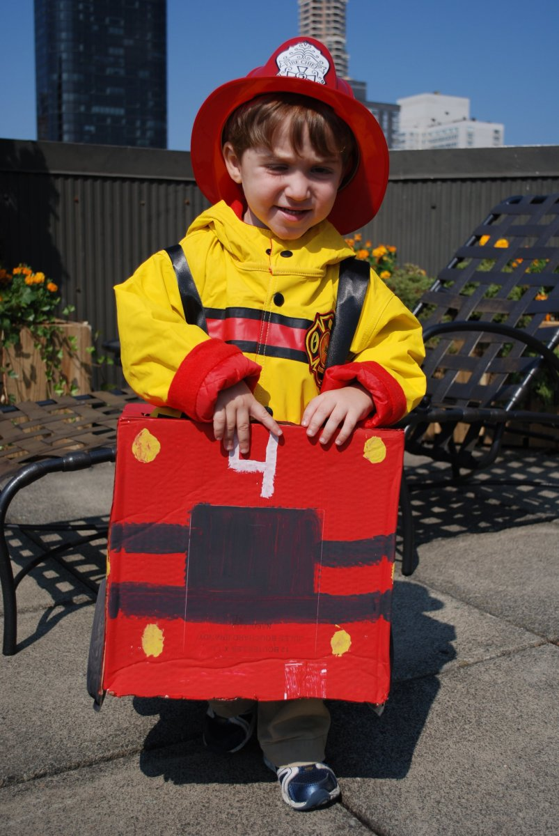 Cardboard Box Fire Truck Costume
