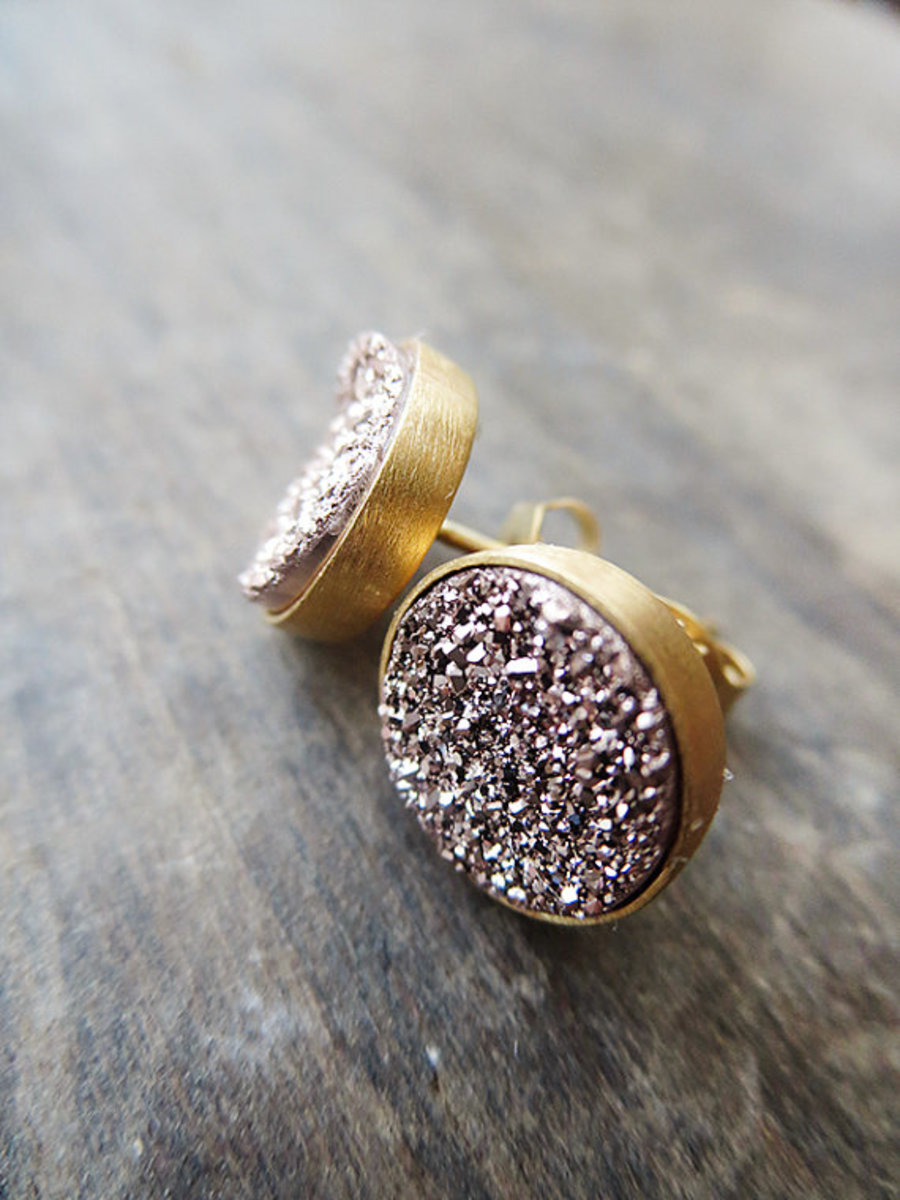 rose gold druzy studs