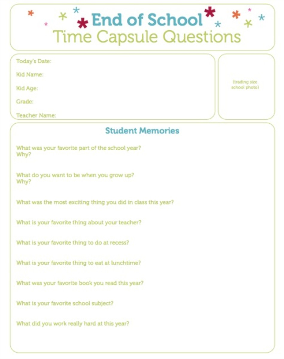 Printable End of School Time Capsule Questions on Today's Mama.com