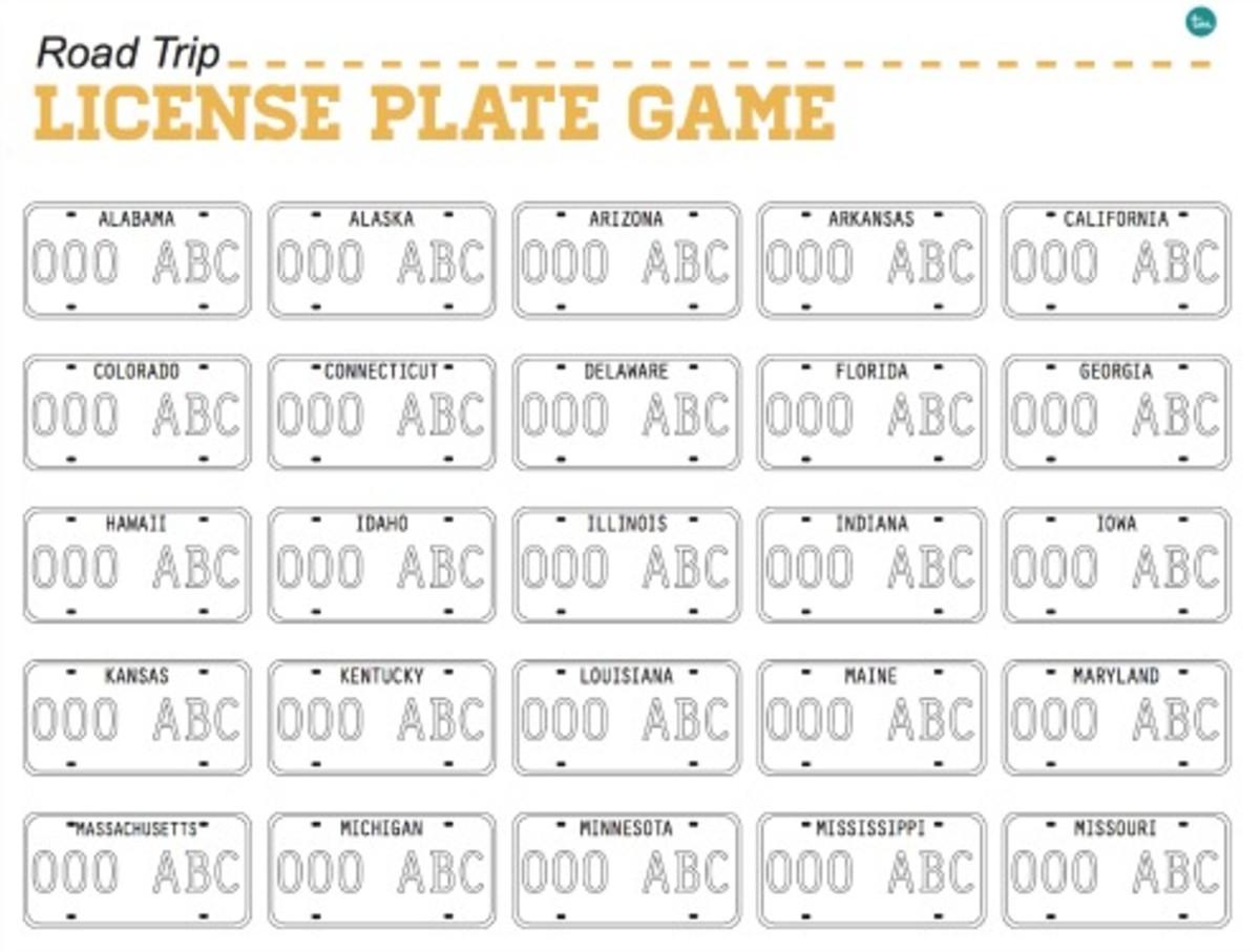 Printable License Plate Game on TodaysMama