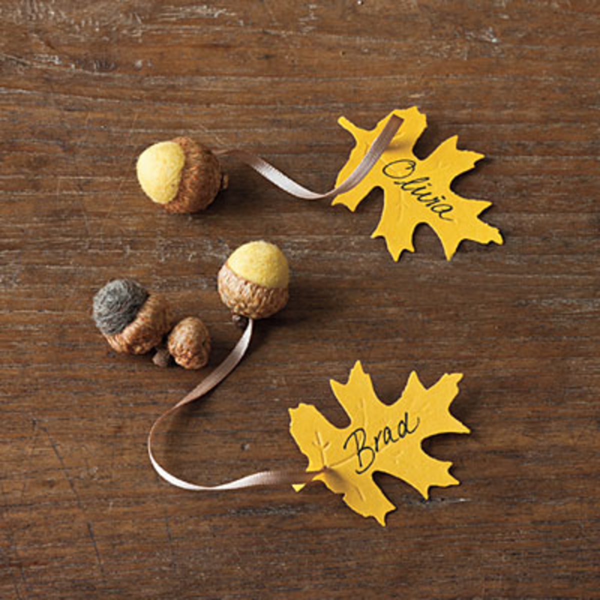 flated acorns with paper leaf name tag