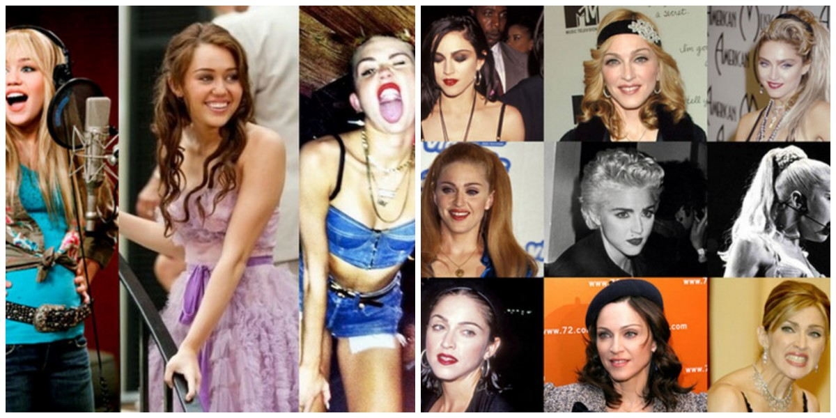 miley and madonna collage