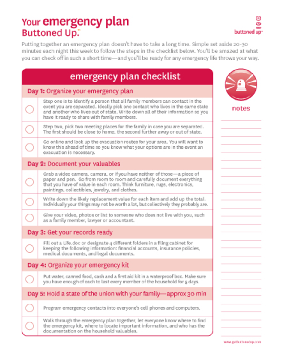 Free printable emergency checklist