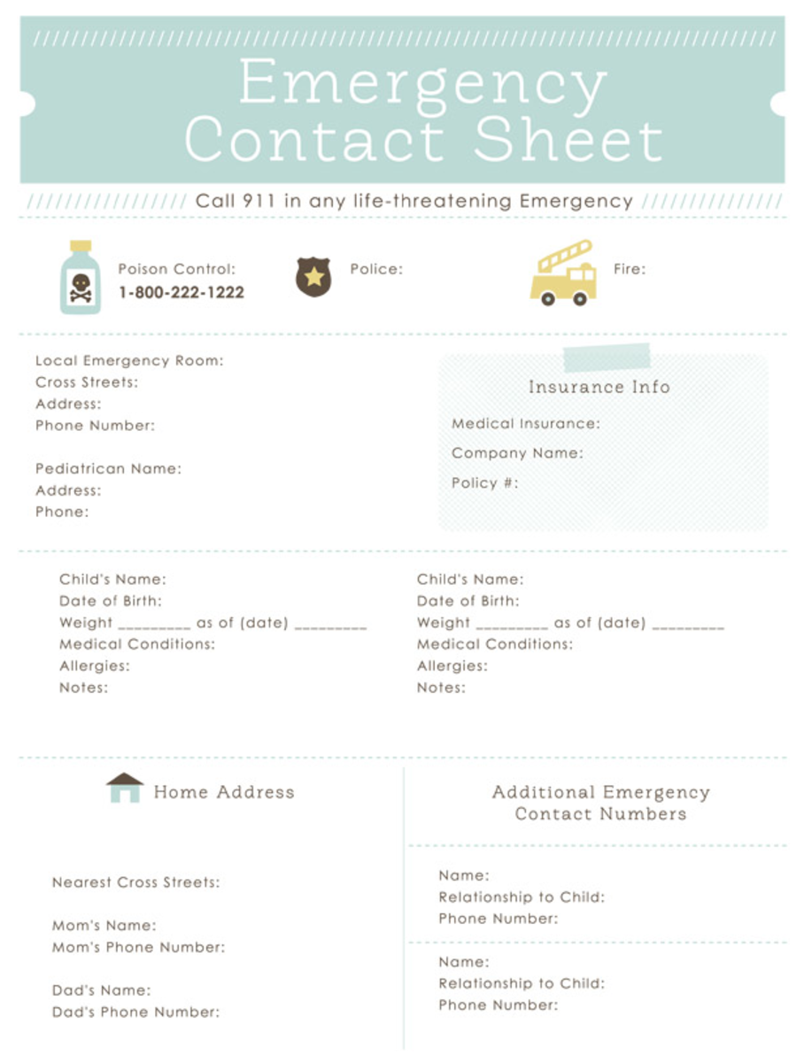 Printable Emergency Contact Sheet