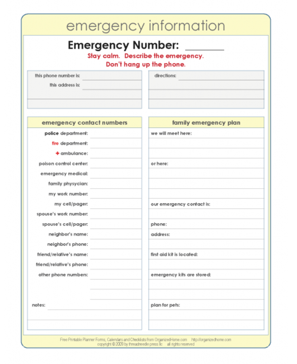 Printable Emergency Information and Response Plan