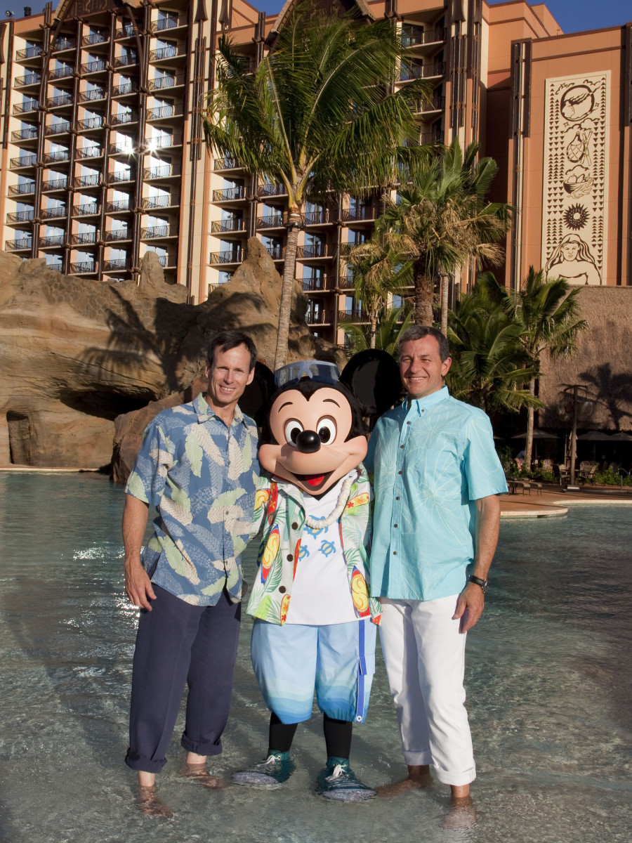 Tom Staggs, Mickey Mouse, and Bob Iger