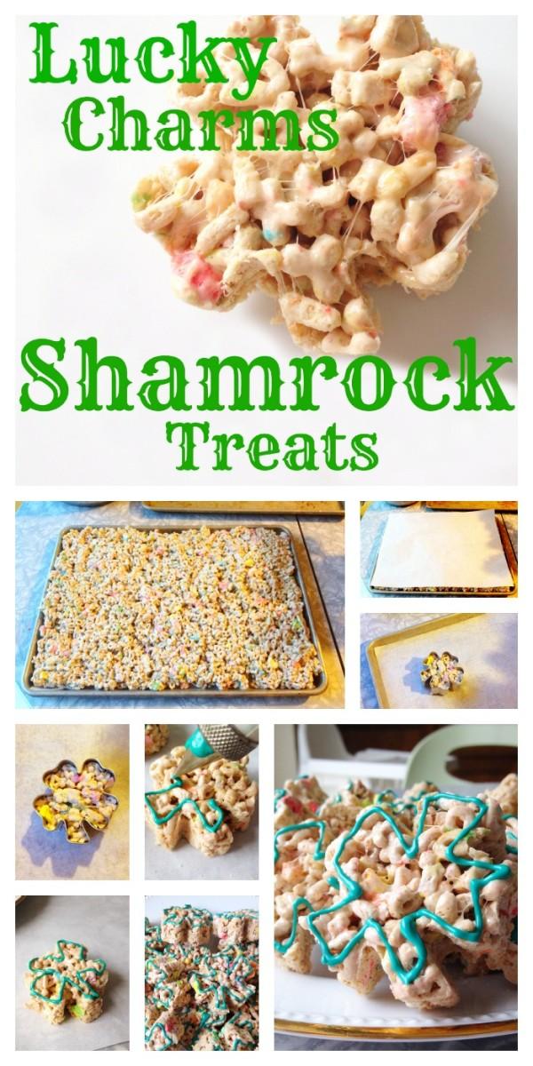 Shamrock marshmallow treats for St. Patrick's Day