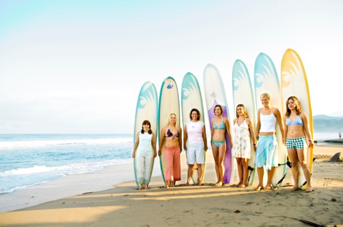 Picture of girls lined up with surf boards