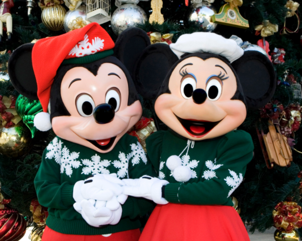 Charachters at Disneyland for Christmas
