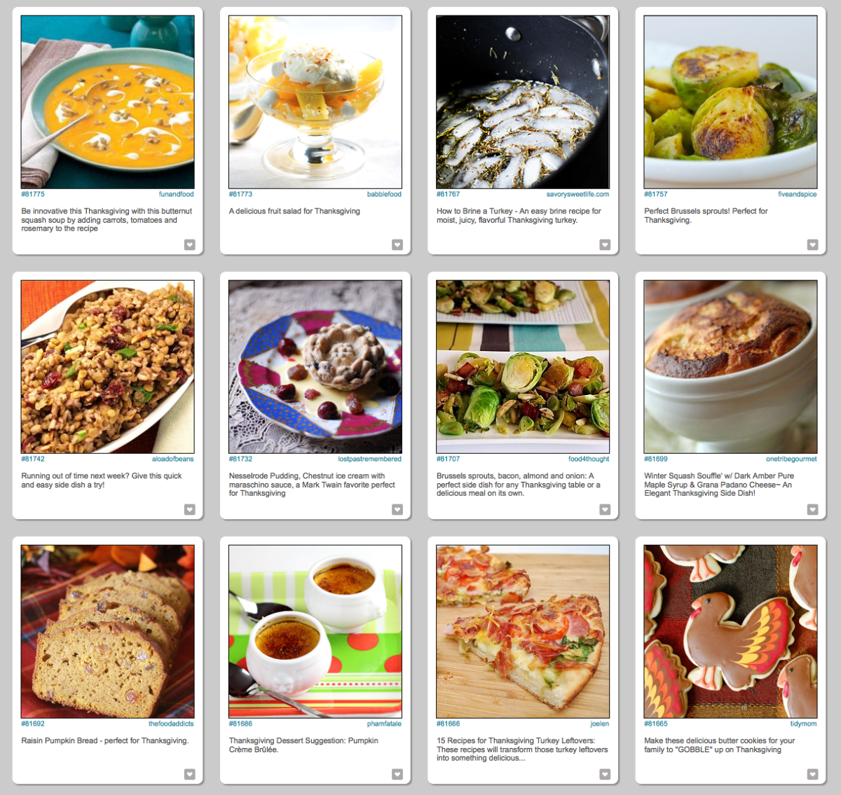 Photo search options for Thanksgiving food on FoodGawker.com