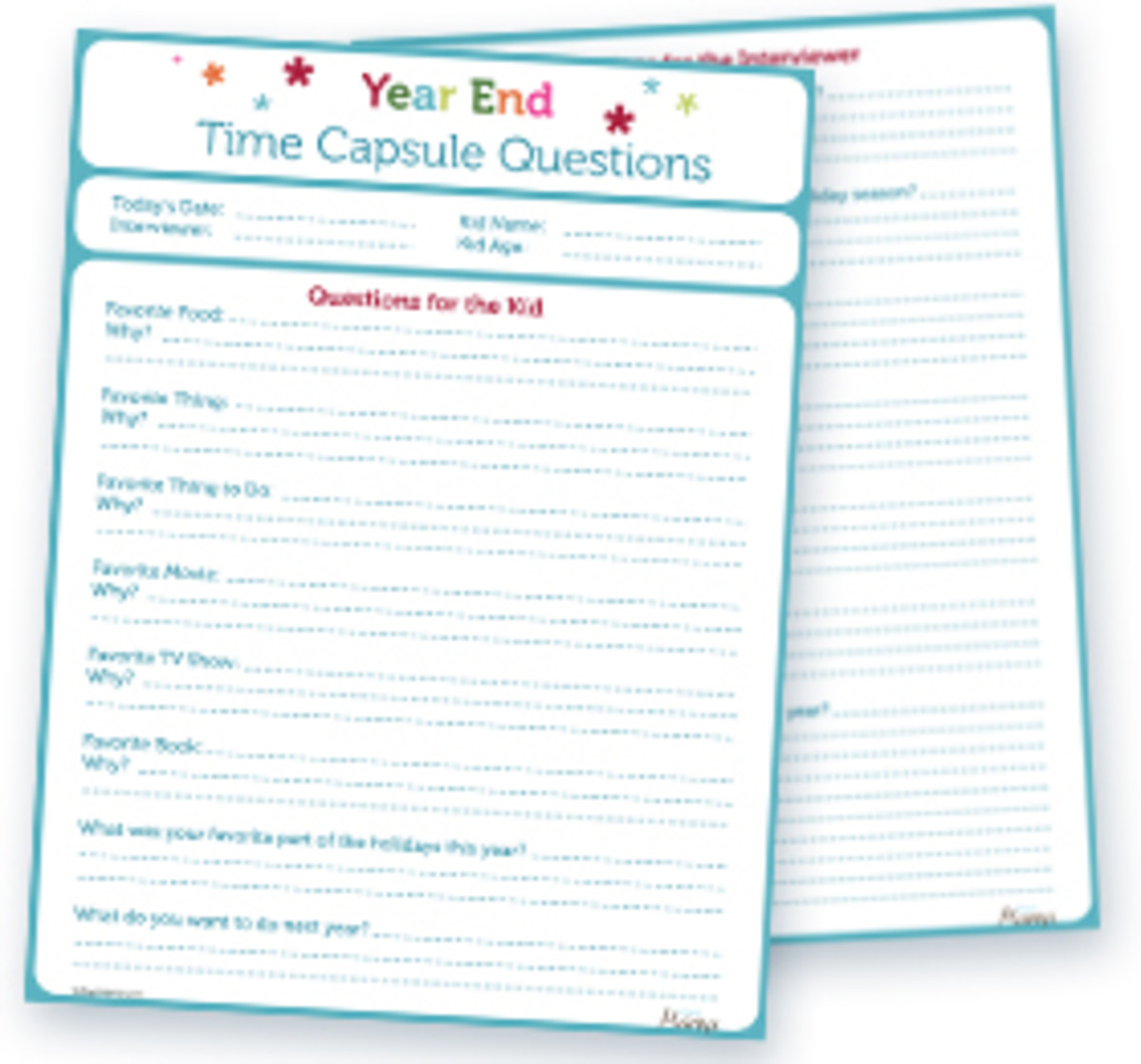 Printable End of the Year Time Capsule Questionnaire