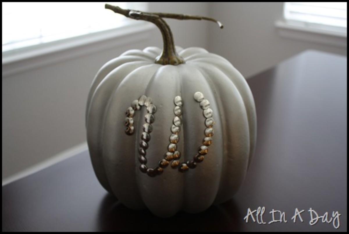 silver monogram thumbtack pumpkins