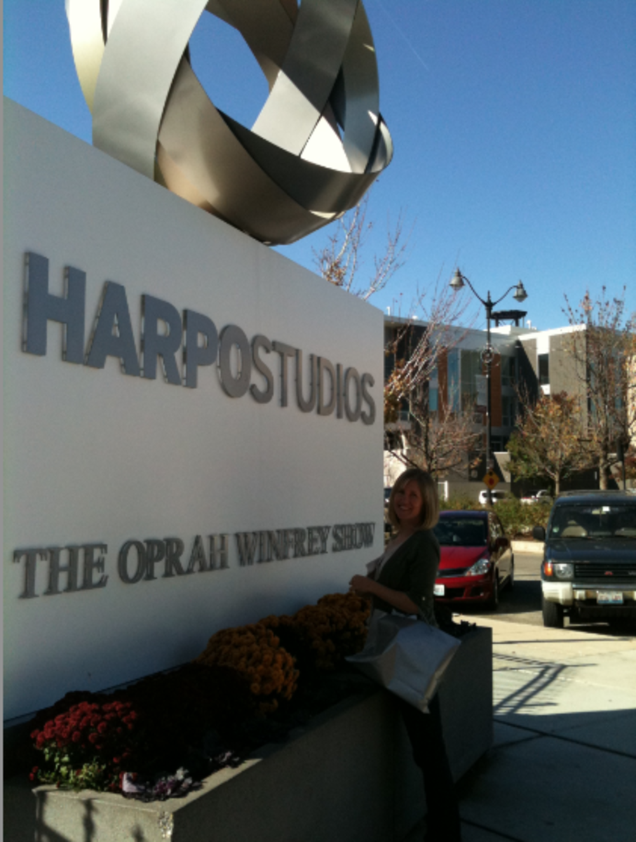 Me in front of the Harpo Studios sign in Chicago