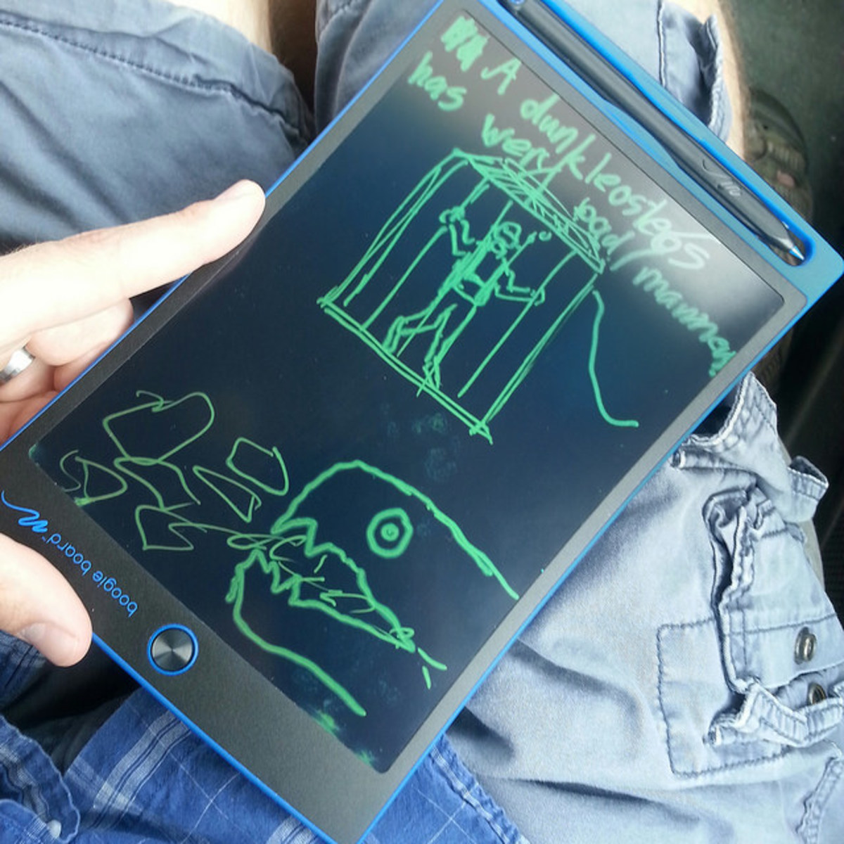 Doodle games while in the car with the Boogie Board.