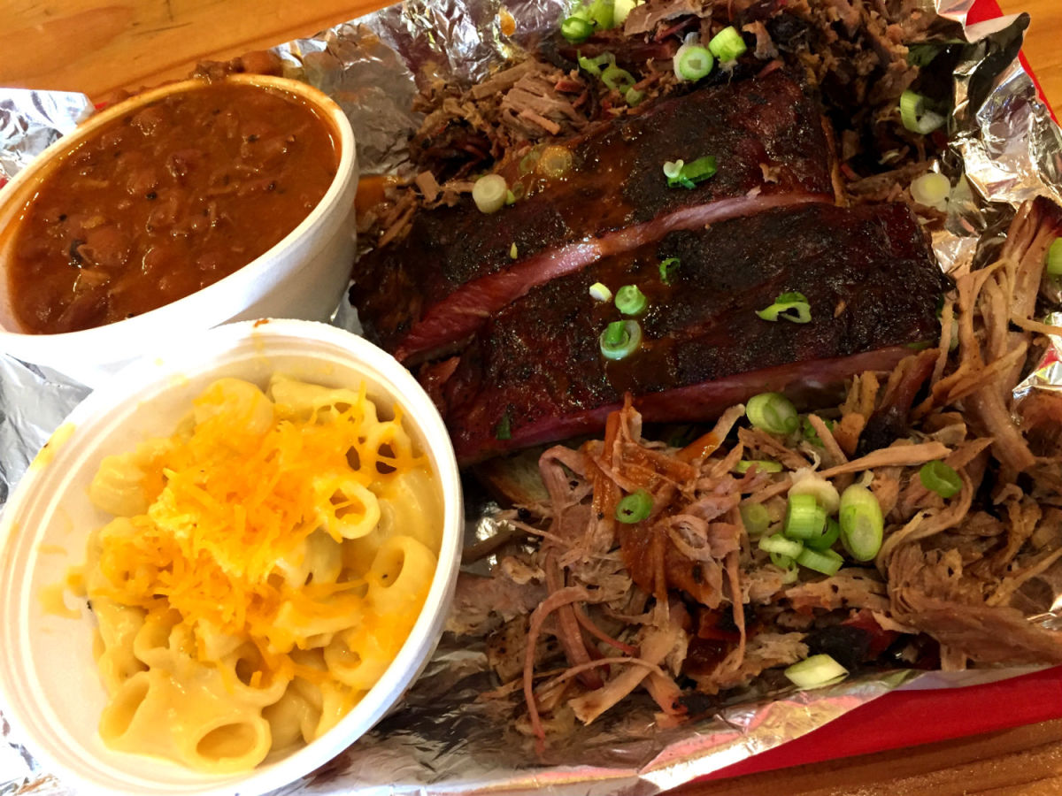 Ribs, brisket, pulled pork, beans, and mac and cheese at Rollin Smoke Barbeque (Photo: Brandi Sjostrom)