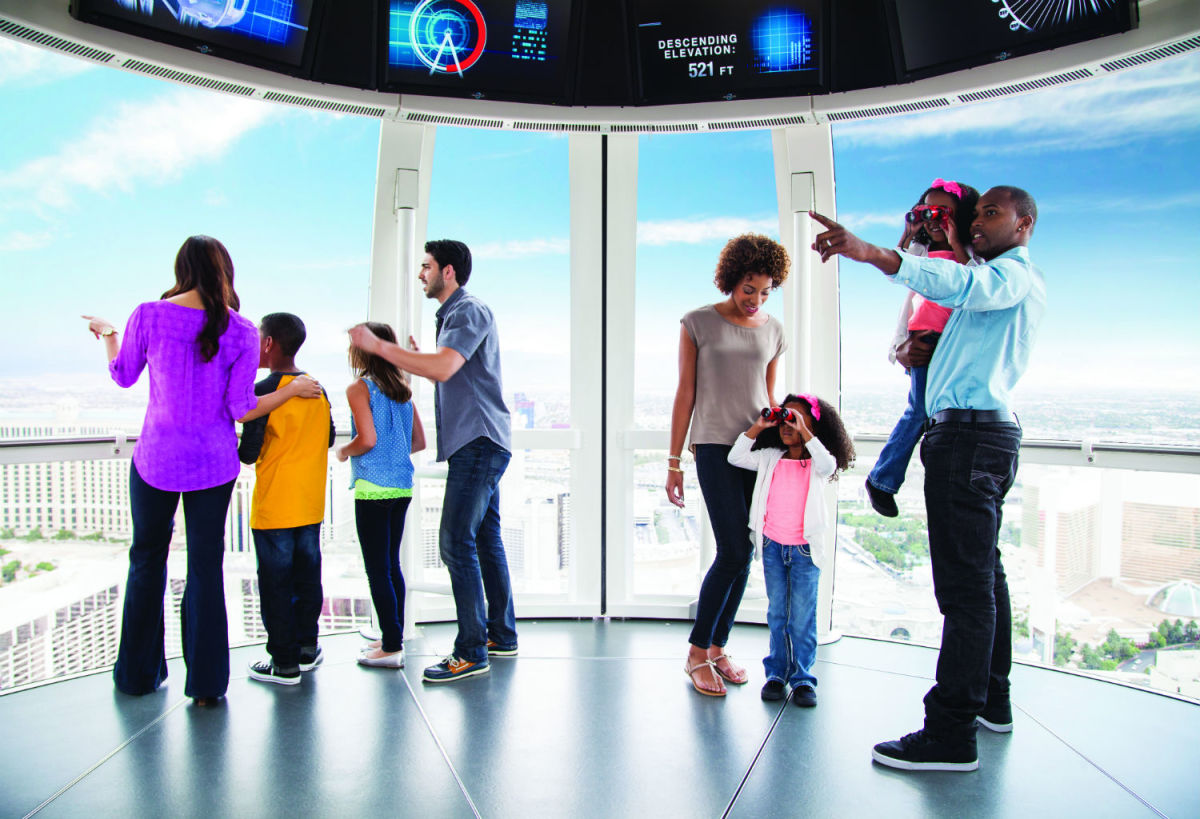 Families in one cabins on the High Roller (Credit Caesars Entertainment)
