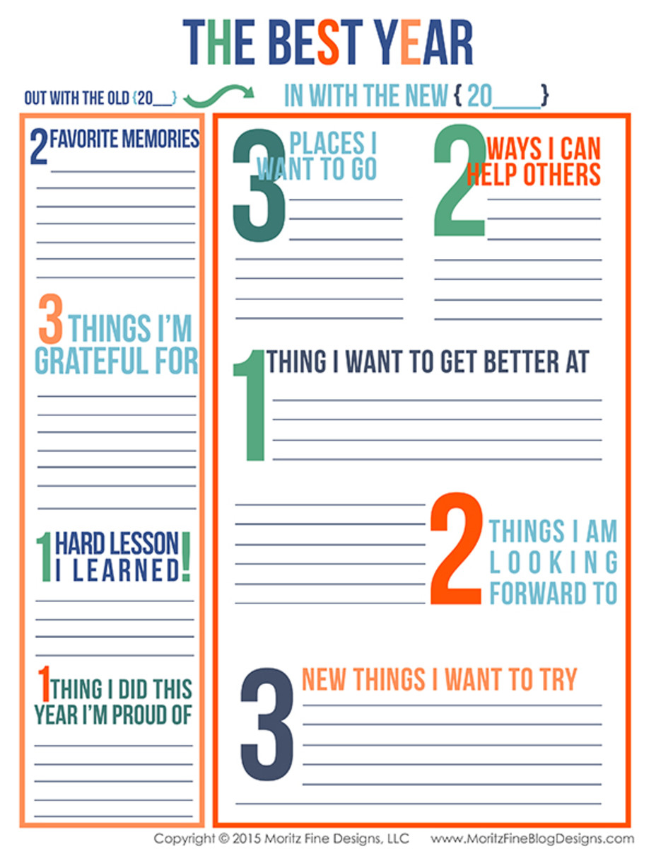 The Best Year Reflections and Goal Setting Worksheet