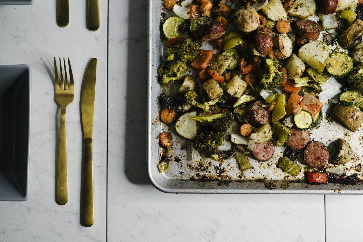 One Pan Italian Sausage and Vegetable Dinner
