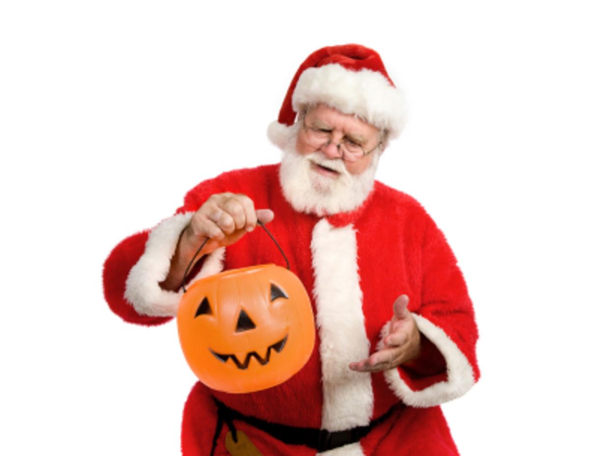 Santa with a Jack-o-Lantern