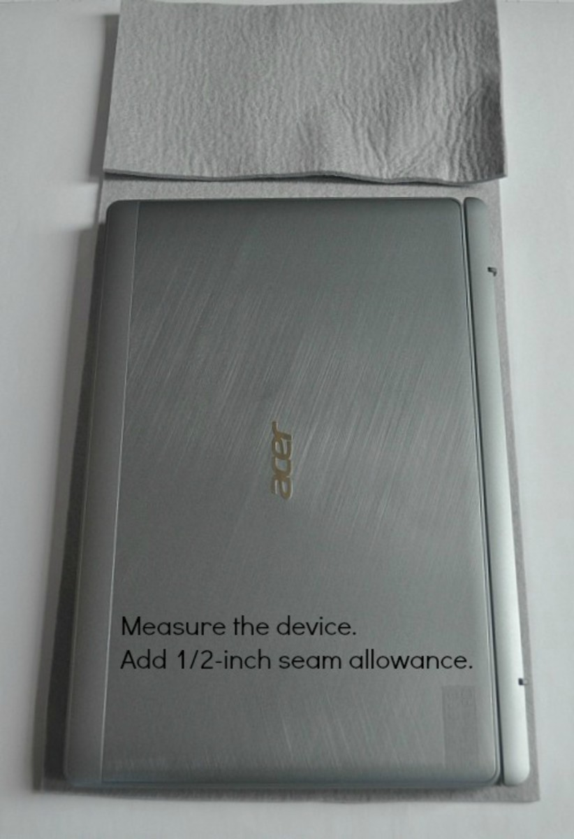 Be sure to measure your device and add a 1/2-inch seam allowance