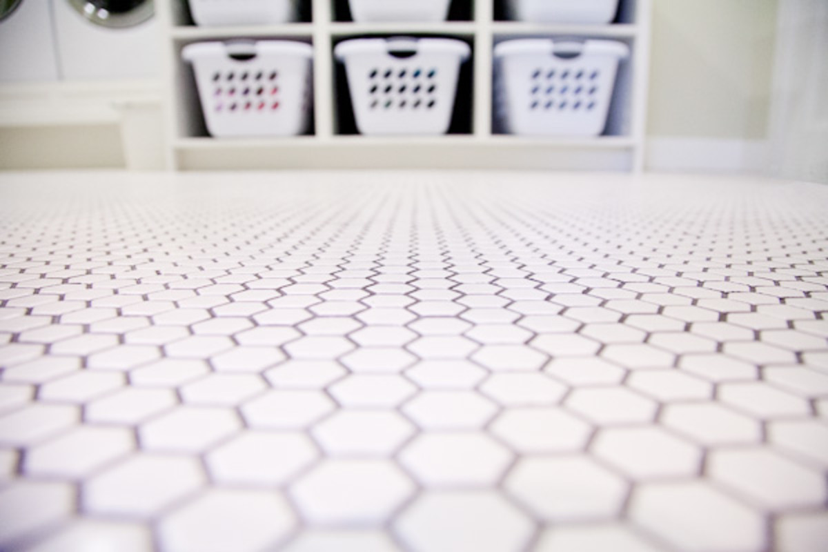 Tile for laundry room, white ceramic hex tile