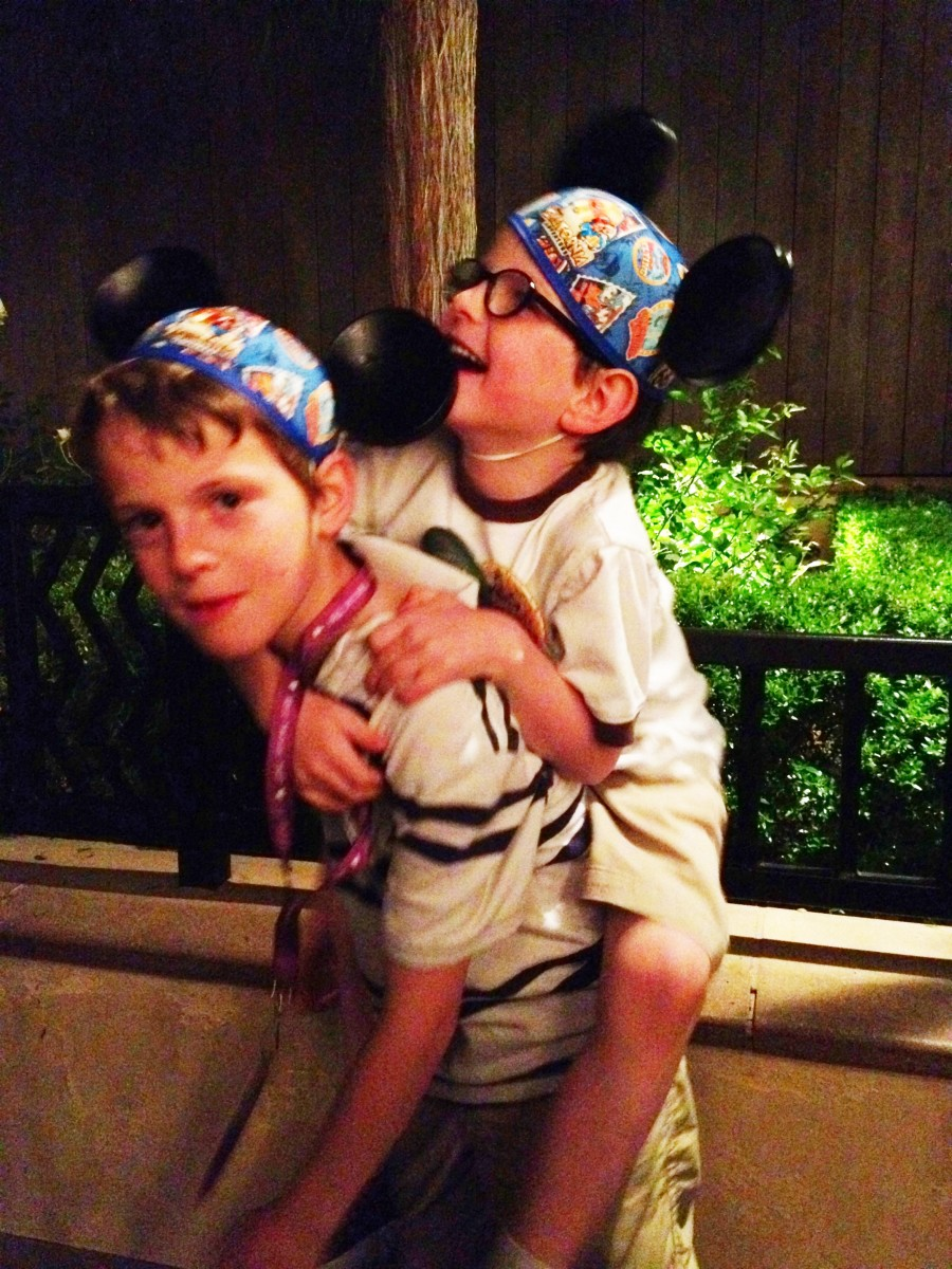 Piggyback ride at Disney