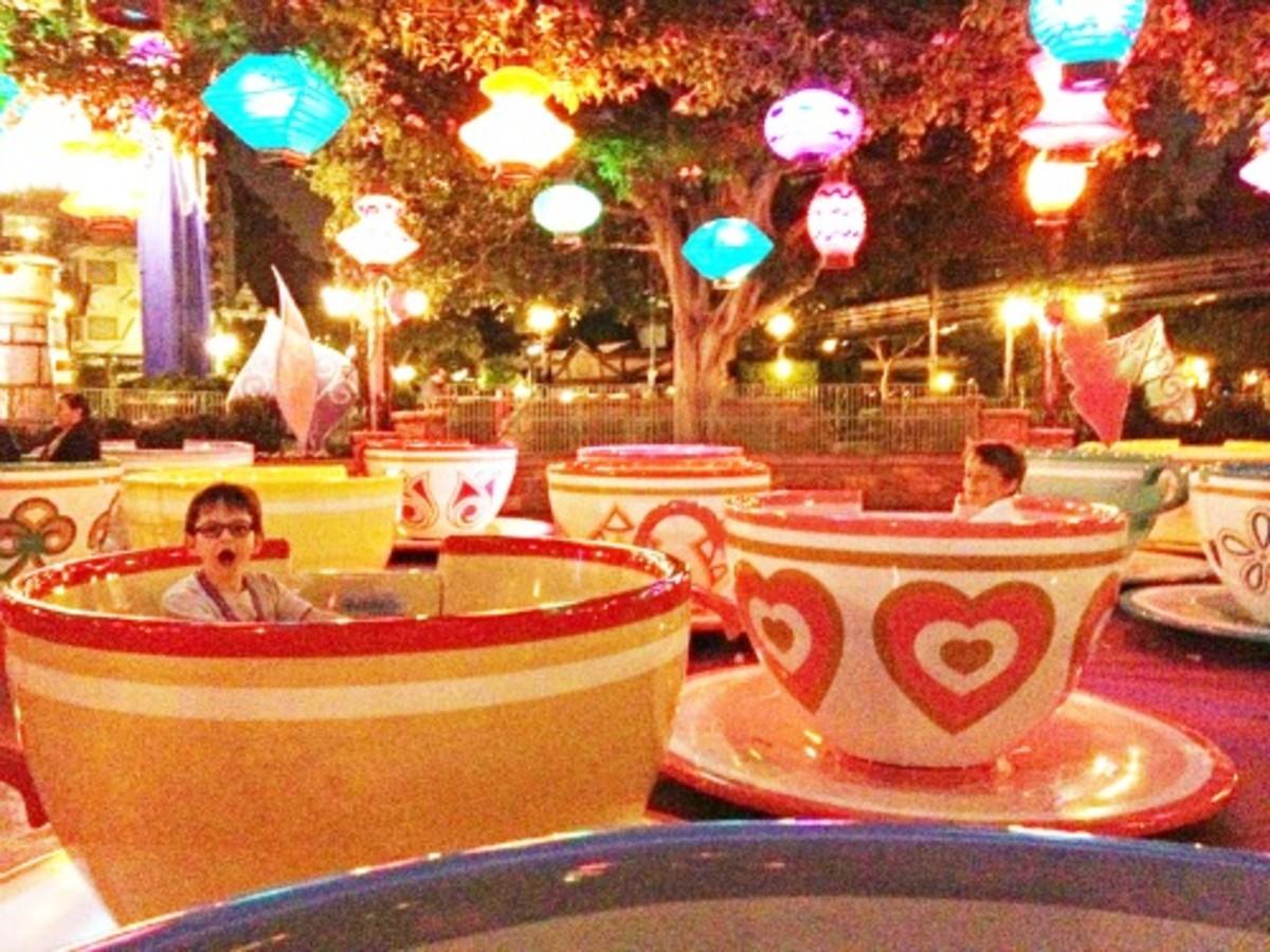 teacups at dusk