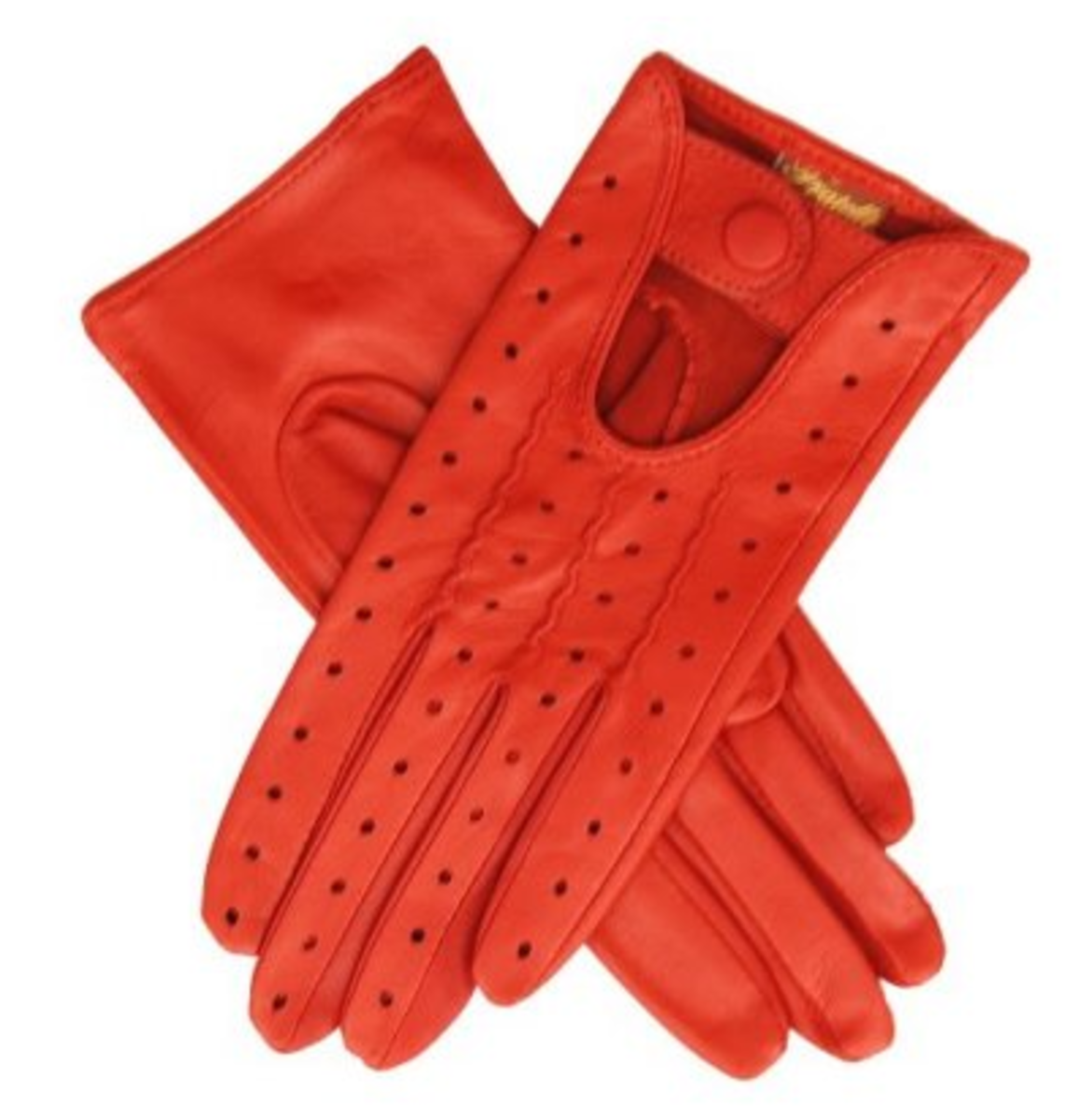 orange leather driving gloves