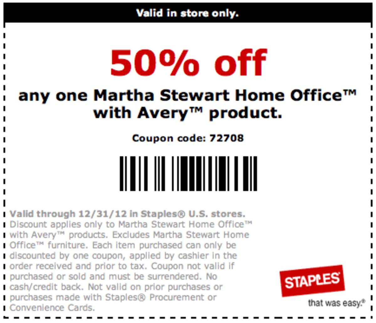 Martha Stewart Staples Coupon Home Office