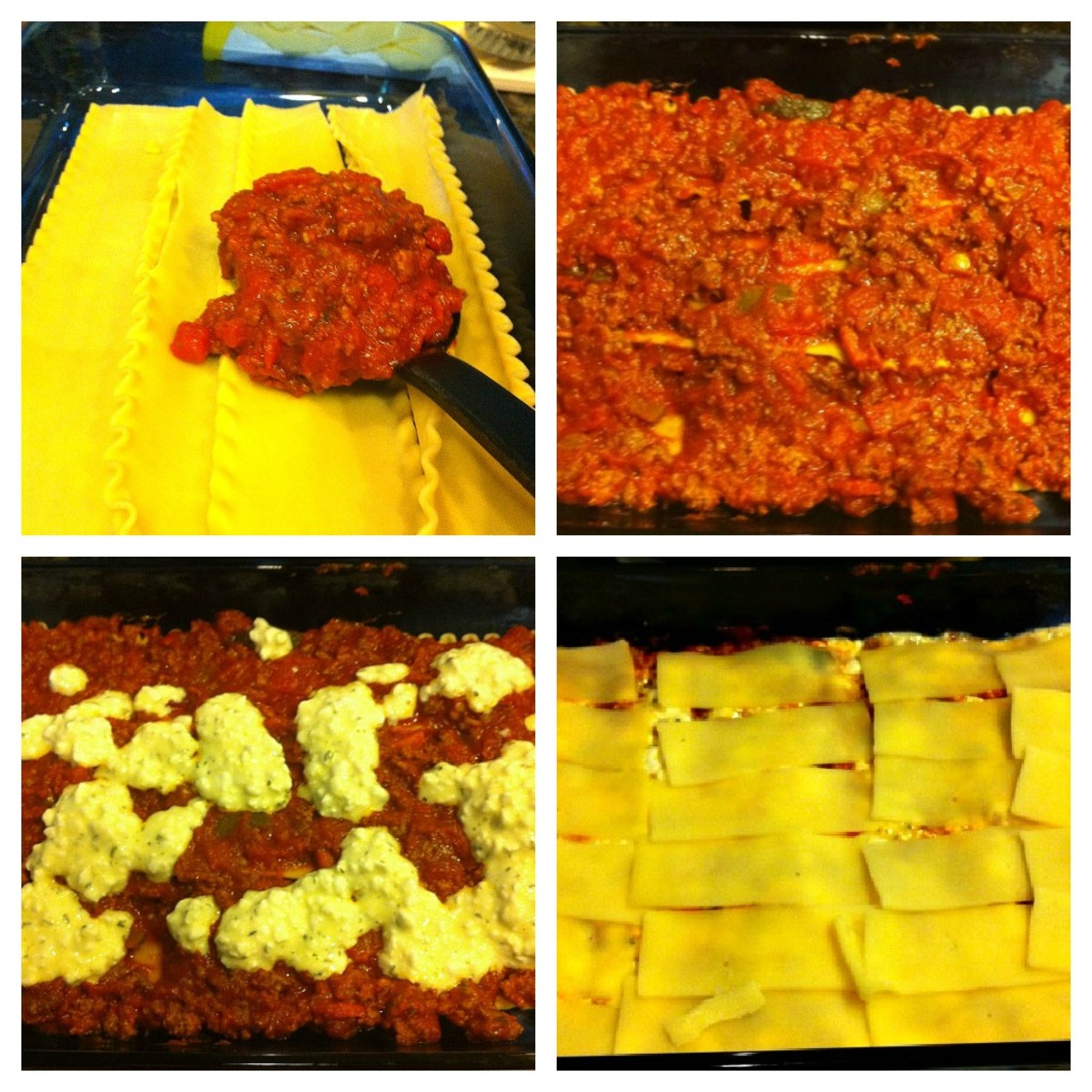 Lasagne Layers - Noodles, Beef, Cottage Cheese, Mozarella Cheese