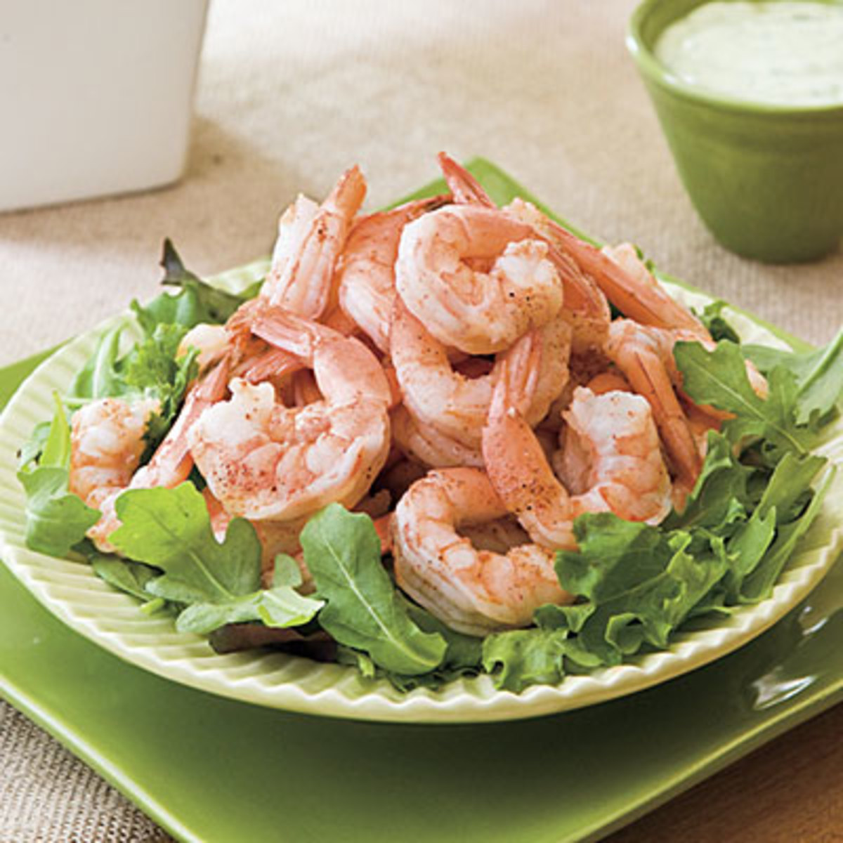 Spicy Boiled Shrimp and Creamy Buttermilk Avocado Sauce