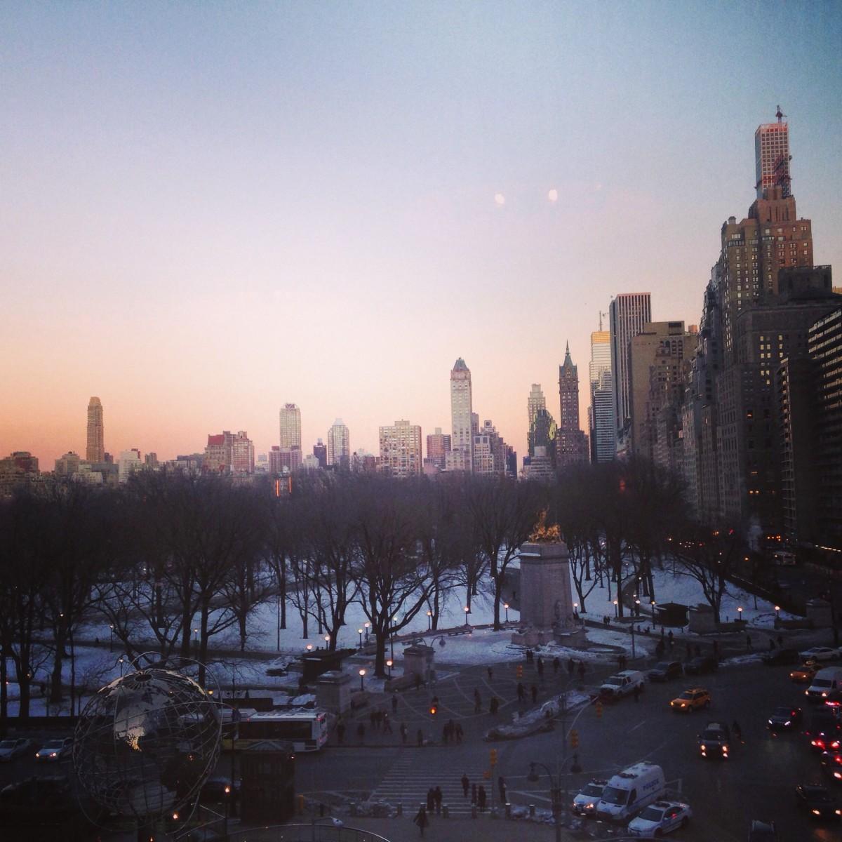 Sunset on Columbus Circle in NYC