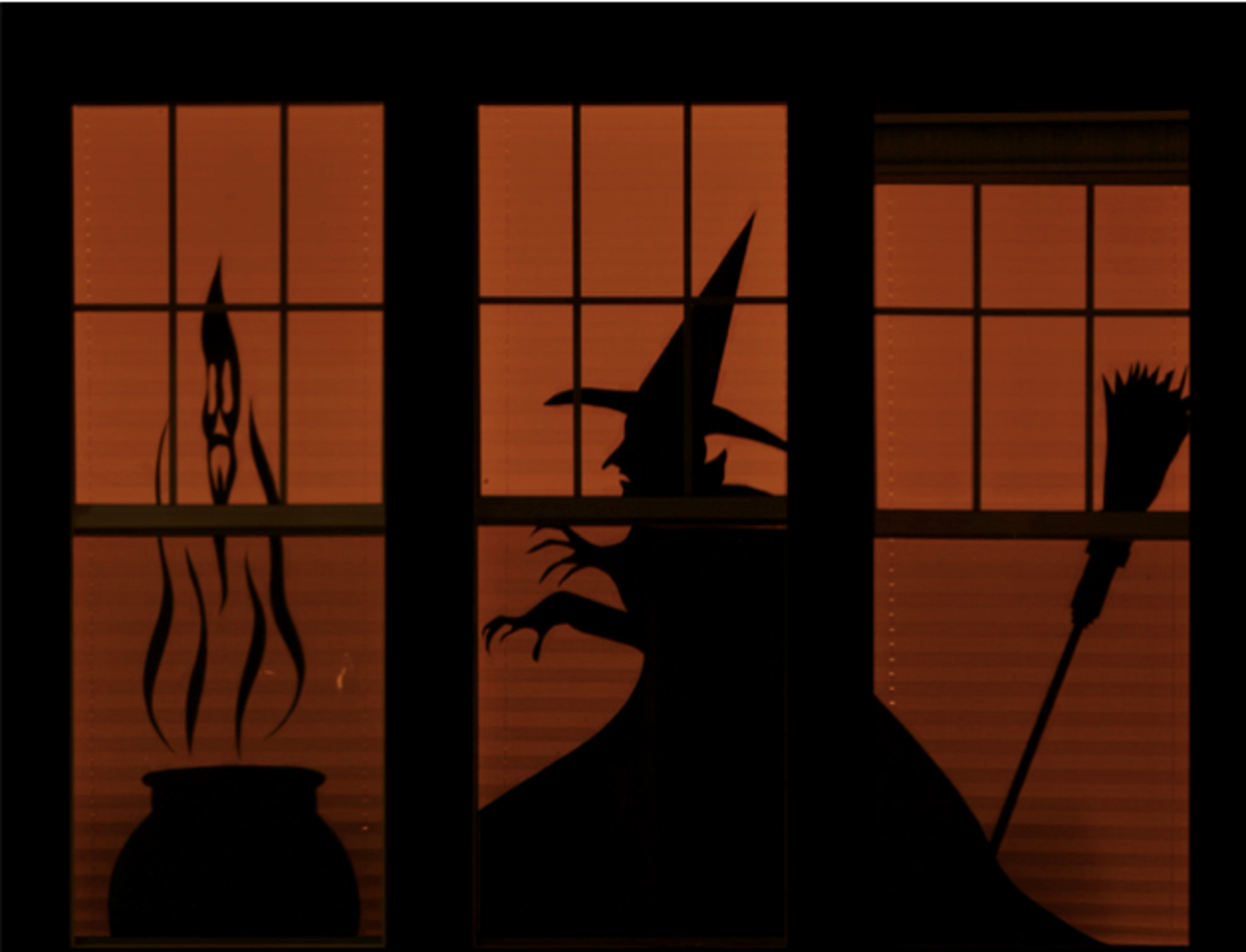 halloween window decoration - witch with boiling cauldron