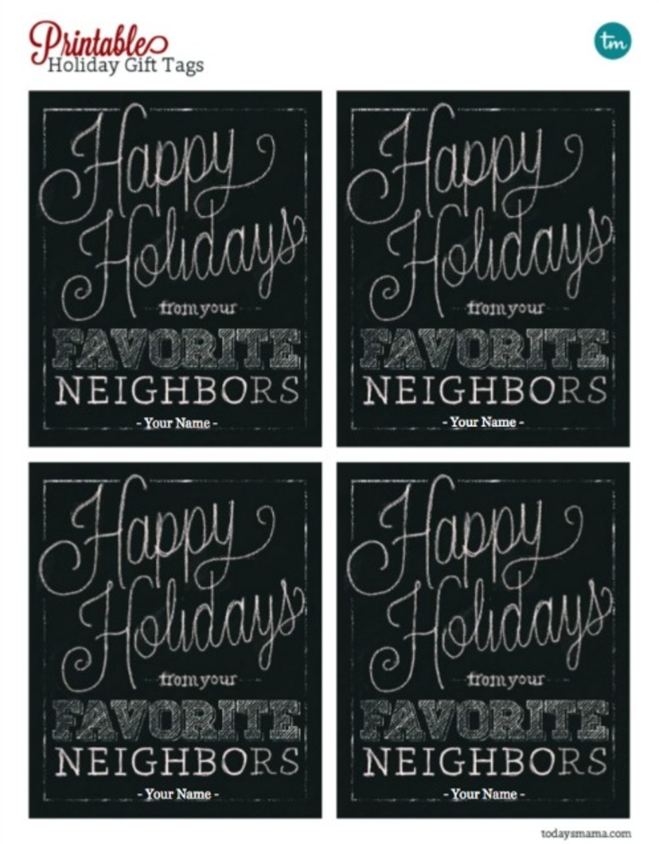 Favorite Neighbor Printable Chalkboard Holiday Gift Tags Preview