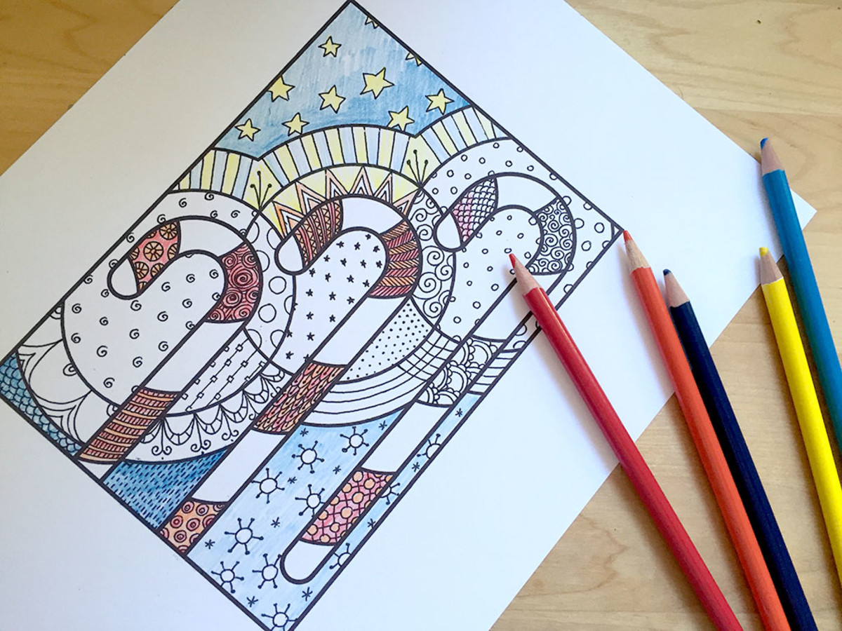 candycane christmas coloring pages