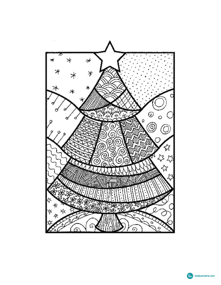 christmas tree coloring pages for grown ups zendoodle.