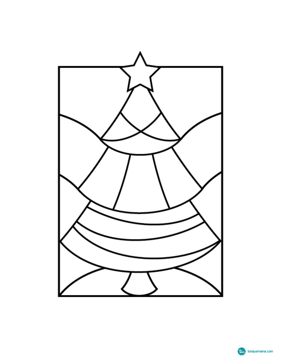 easy christmas tree coloring page