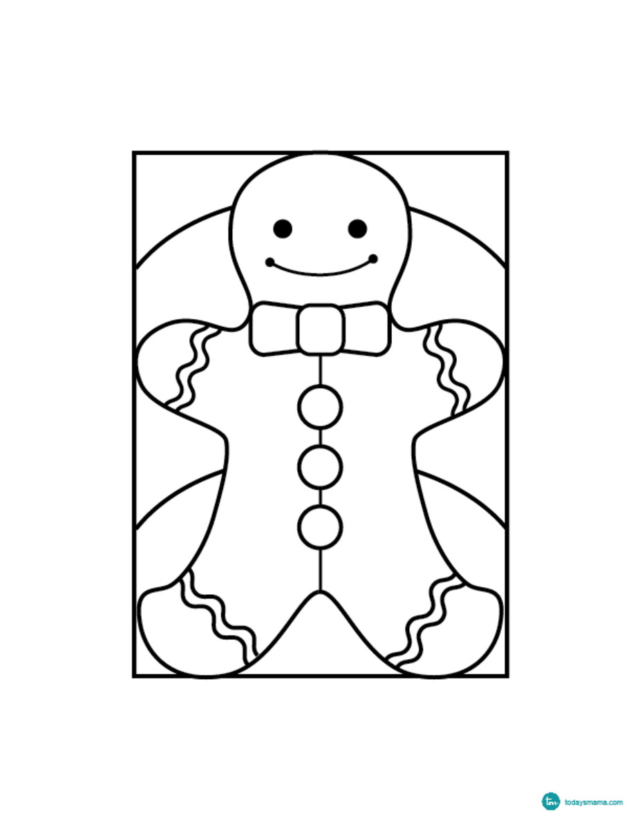gingerbread man coloring page easy