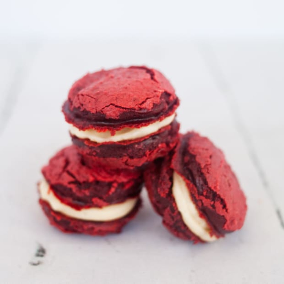 Red Velvet Cake Mix Whoopie Pie Cookies with Cream Cheese Filling